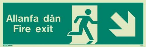 (482UR) Jalite Welsh Fire Exit Progress Down Right Sign Allanfa Dan down right sign